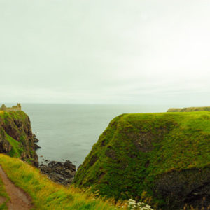 North Sea, Dunnotar Castle, Scotland. It was here that Scotland's crown jewels were hidden from Cromwell's invaders in the 17th century. The ruins are spread out and can only be reached by a steep narrow footpath.