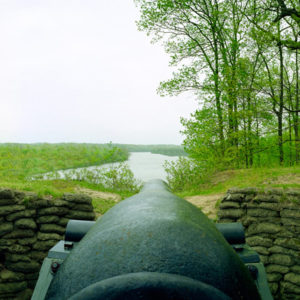 James River & Cannon at Drewry's Bluff. This cannon prevented Union gunboats from coming up the James  River to attack Richmond during the Civil War.