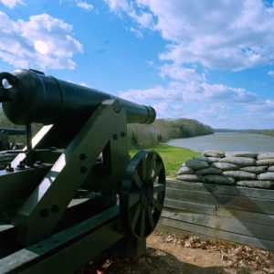 Fort Donelson Lower Battery, at Cumberland River Tennessee. Although the fort was eventually captured by US Grant, this battery prevented US gunships from controlling the waters.
