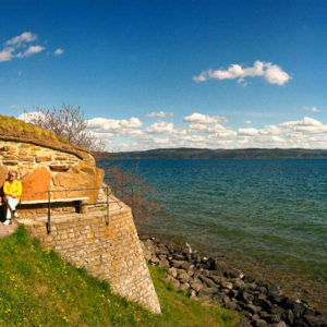 Lake Vättern, Castle ruins, Visingsö, Sweden. According to legend, the island was created when a giant threw a lump of soil into the lake to make a stepping stone for his wife so she could step over the lake.