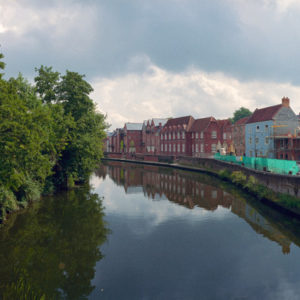 Norwich Canal, England. The city center was heavily bombed during WW2, and is still being rebuilt