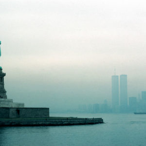 New York Bay & statue of  Liberty, plus the World Trade Center in 1977.