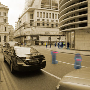 2010 : Financial District Rush Hour, London. This is an experiment to show interaction of people to urban architecture.