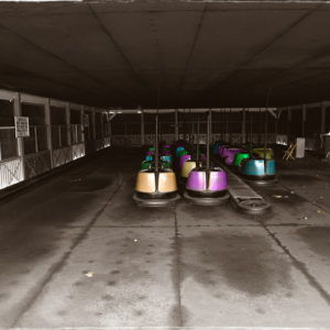 1976 : Bumper Cars at Marshall Hall amusement park. The park had closed but I got in to make several iconic shots of its facilities.