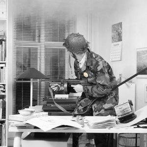 1984 : Office Wars. A smoke bomb was set off in my office to illustrate stress at work.